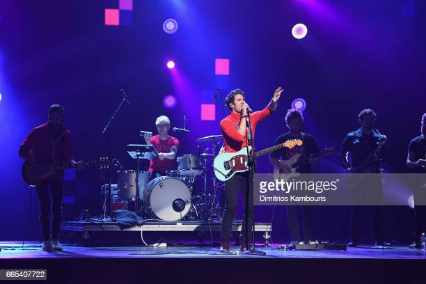 Darren Criss Computer Games perform on stage during WE Day New York Welcome to celebrate young people changing the world at Radio City Music Hall on...