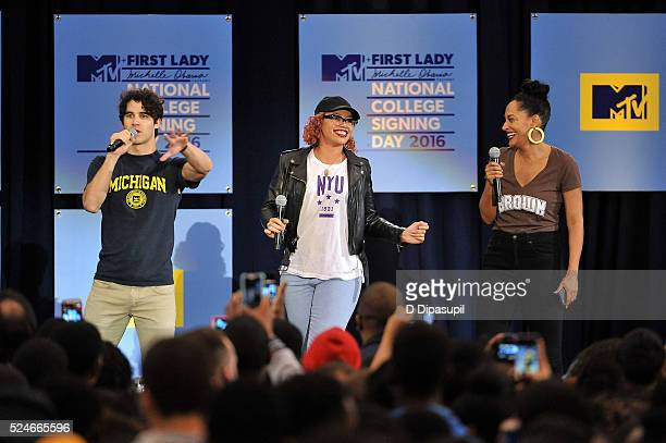 Darren Criss Elle Varner and Tracee Ellis Ross speak onstage during the 3rd Annual College Signing Day at the Harlem Armory on April 26 2016 in New...
