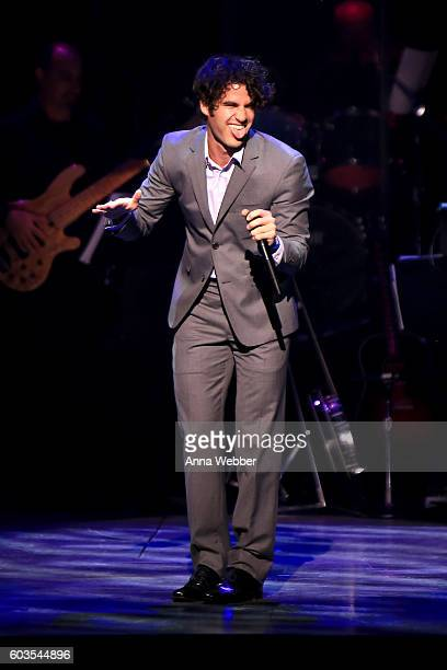 Darren Criss performs onstage at the 2nd Annual Voices For The Voiceless Stars For Foster Kids Benefit at the Al Hirschfeld Theatre on September 12...