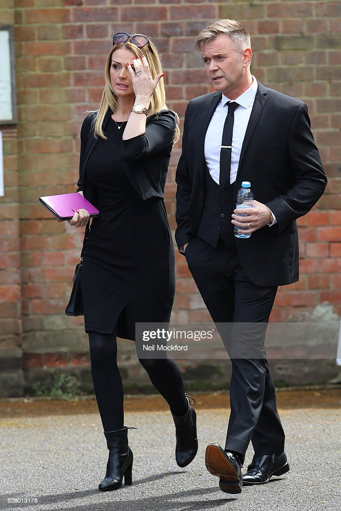 <a gi-track='captionPersonalityLinkClicked' href=/galleries/search?phrase=Darren+Day&family=editorial&specificpeople=225200 ng-click='$event.stopPropagation()'>Darren Day</a> arriving at the funeral of David Guest at Golders Green Crematorium on April 29, 2016 in London, England.