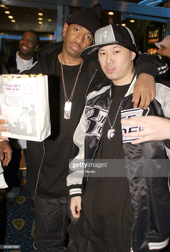 Darren Dee Dean of Ruff Ryders and Jin during Never Die Alone New York Premiere - Inside Arrivals at Chelsea West Cinemas in New York City, New York, United States.