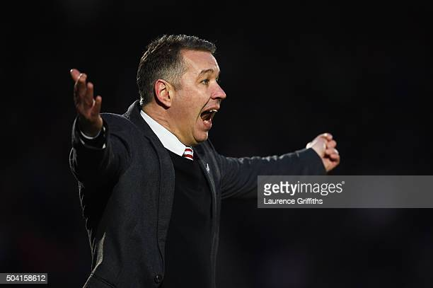 Darren Ferguson manager of Doncaster Rovers gestures during the Emirates FA Cup Third Round match between Doncaster Rovers and Stoke City at Keepmoat...