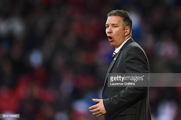 Darren Ferguson manager of Doncaster Rovers looks on during the Emirates FA Cup Third Round match between Doncaster Rovers and Stoke City at Keepmoat...