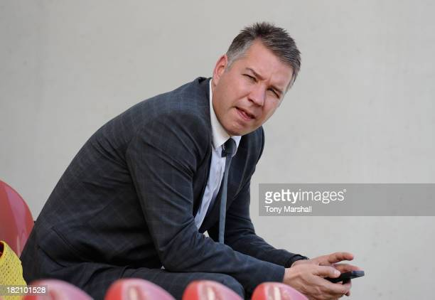 Darren Ferguson manager of Peterborough United in the dugout before the Sky Bet League One match between Rotherham United and Peterborough United at...