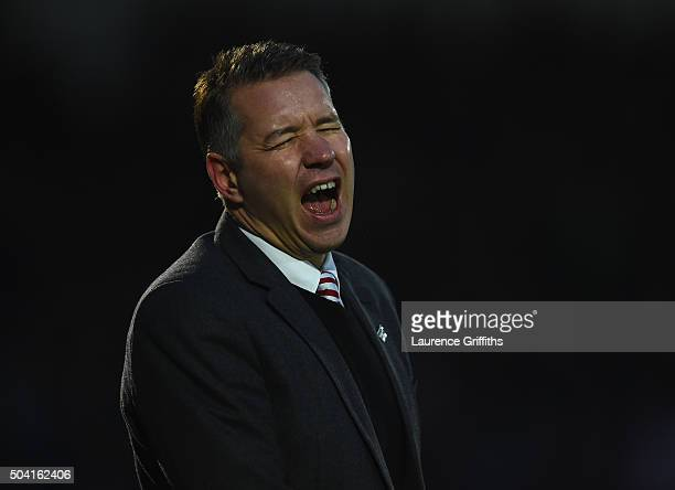 Darren Ferguson of Doncaster Rovers shows his frustration during the The Emirates FA Cup Third Round match between Doncaster Rovers and Stoke City at...