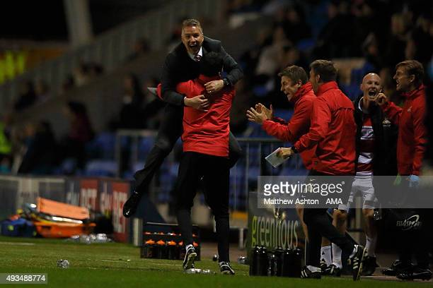 Darren Ferguson the head coach / manager of Doncaster Rovers celebrates the winning goal during to the Sky Bet League One match between Shrewsbury...