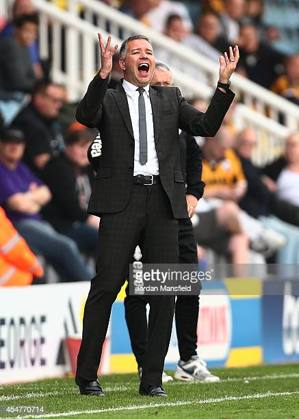 Darren Ferguson the manager of Peterborough United gestures during the Sky Bet League One match between Peterborough United and Port Vale at London...