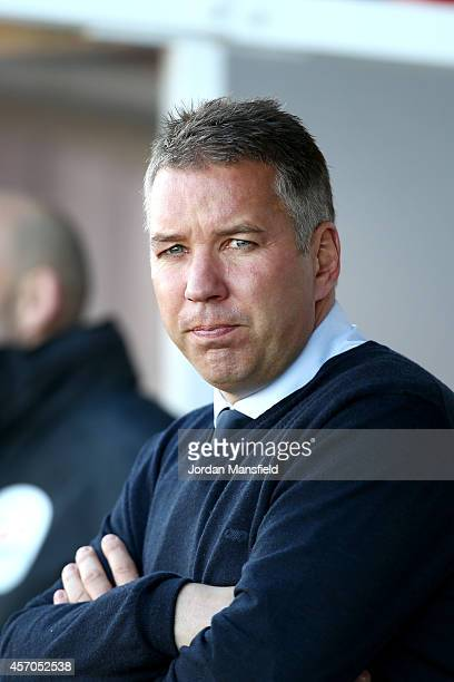 Darren Ferguson the manager of Peterborough United looks on ahead of the Sky Bet League One match between Crawley Town and Peterborough United at...