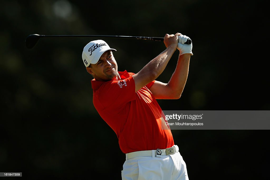 Darren Fichardt of South Africa hits his second shot on the 15th hole during Final Day of the Africa Open at East London Golf Club on February 17, 2013 in East London, South Africa.