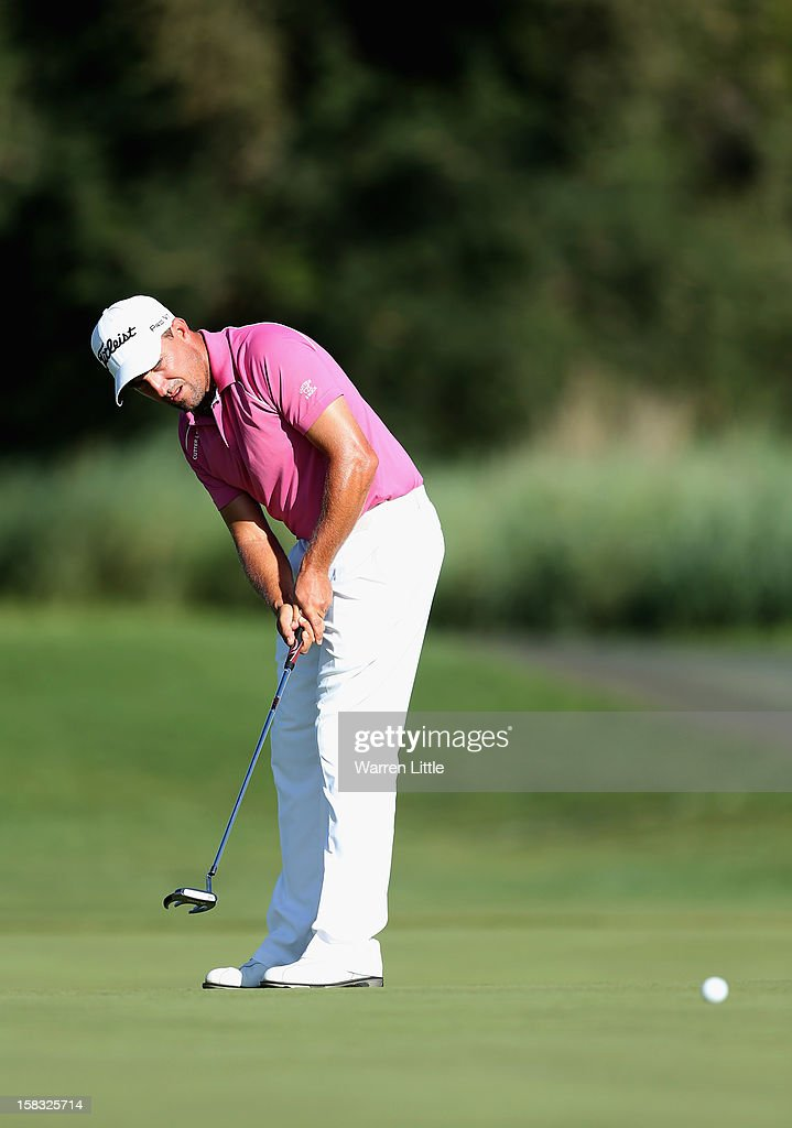 Darren Fichardt of South Africa putts on the 17th green during the first round of the Alfred Dunhill Championship at Leopard Creek Country Golf Club on December 13, 2012 in Malelane, South Africa.