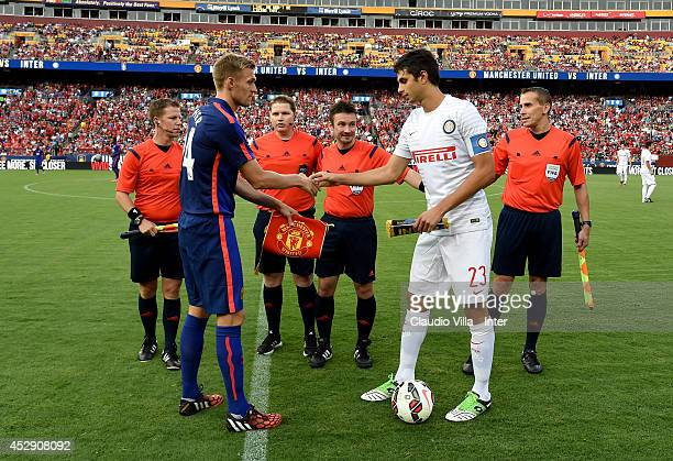 Darren Fletcher of Manchester United and Andrea Ranocchia of Inter Milan during the preseason friendly between Manchester United and Inter Milanat...