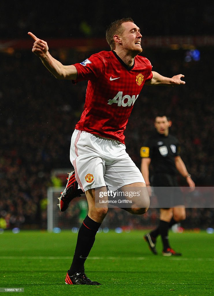 Darren Fletcher of Manchester United celebrates scoring his team's second goal to make the score 2-1 during the Barclays Premier League match between Manchester United and Queens Park Rangers at Old Trafford on November 24, 2012 in Manchester, England.