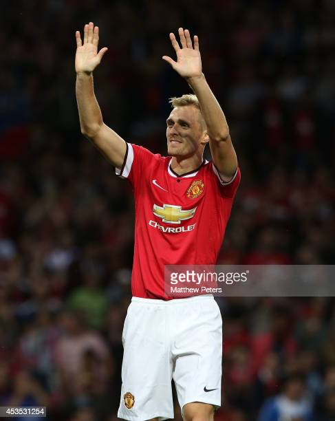 Darren Fletcher of Manchester United celebrates scoring their first goal during the Pre Season Friendly match between Manchester United and Valencia...