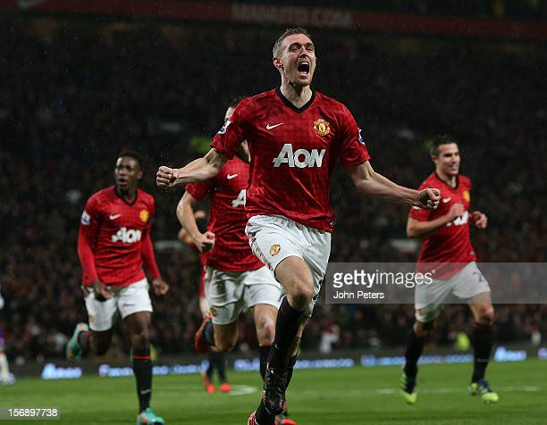 Darren Fletcher of Manchester United celebrates scoring their second goal during the Barclays Premier League match between Manchester United and...