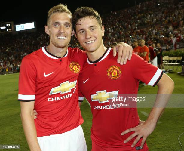 Darren Fletcher of Manchester United celebrates with Ander Herrera after the preseason friendly match between LA Galaxy and Manchester United at Rose...