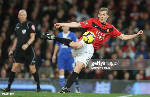 Darren Fletcher of Manchester United scores their first goal during the Barclays Premier League match between Manchester United and Everton at Old...