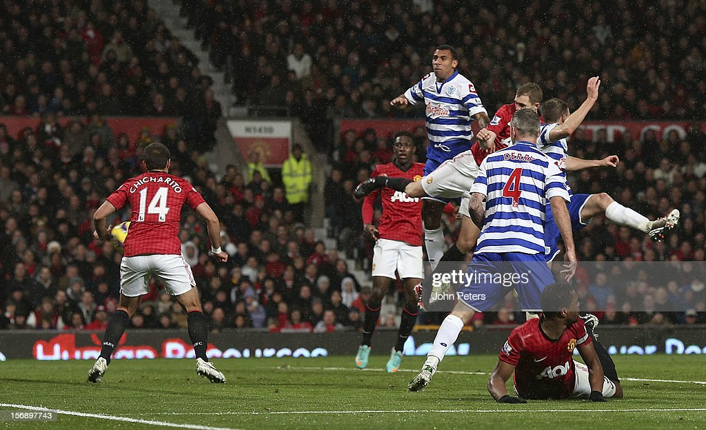 <a gi-track='captionPersonalityLinkClicked' href=/galleries/search?phrase=Darren+Fletcher&family=editorial&specificpeople=171310 ng-click='$event.stopPropagation()'>Darren Fletcher</a> of Manchester United scores their second goal during the Barclays Premier League match between Manchester United and Queens Park Rangers at Old Trafford on November 24, 2012 in Manchester, England.