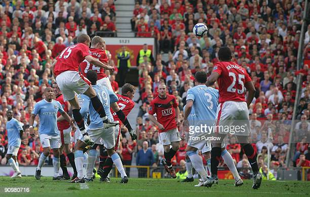 Darren Fletcher of Manchester United scores their third goal during the Barclays Premier League match between Manchester United and Manchester City...