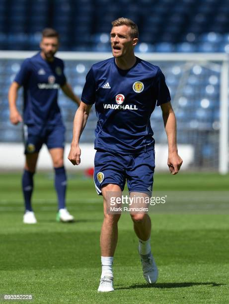 Darren Fletcher of Scotland warms up during the Scotland training session at Hampden Park on June 7 2017 in Glasgow Scotland
