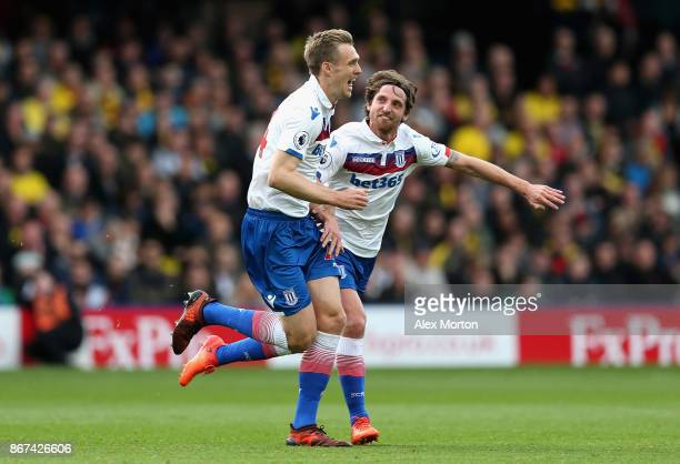 Darren Fletcher of Stoke City celebrates scoring his sides first goal during the Premier League match between Watford and Stoke City at Vicarage Road...