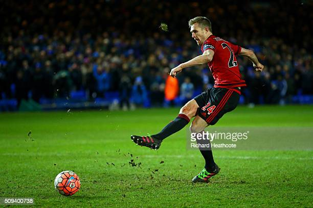 Darren Fletcher of West Bromwich Albion misses his penalty during the penalty shootout in the Emirates FA Cup fourth round replay match between...