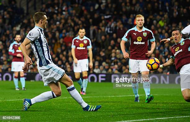Darren Fletcher of West Bromwich Albion scores theif third during the Premier League match between West Bromwich Albion and Burnley at The Hawthorns...