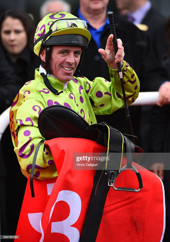 Darren Gauci after riding Moshway to win Race 2 during Melbourne Racing at Sandown Lakeside on May 28, 2016 in Melbourne, Australia.