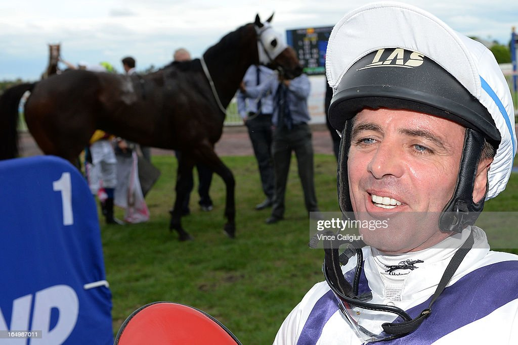 Darren Gauci after winning the Zaidee's Rainbow Foundation Victoria Handicap during Melbourne Racing at Caulfield Racecourse on March 30, 2013 in Melbourne, Australia.