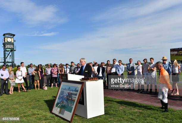 Darren Gauci is honoured by the Melbourne race club after his last career ride in Race 9 at Caulfield Racecourse on February 4 2017 in Melbourne...