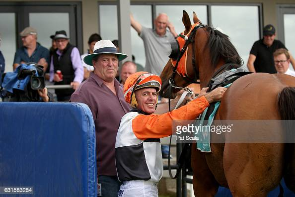 Darren Gauci returns to the mounting yard on True Brave after winning Ord Motorcycles Ararat BM58 Handicapat Ararat Racecourse on January 13 2017 in...