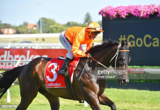 Darren Gauci riding Longeron to the starting gates before his last career ride in Race 9 at Caulfield Racecourse on February 4 2017 in Melbourne...