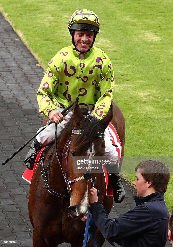Darren Gauci riding Moshway after winning Race 2 during Melbourne Racing at Sandown Lakeside on May 28, 2016 in Melbourne, Australia.