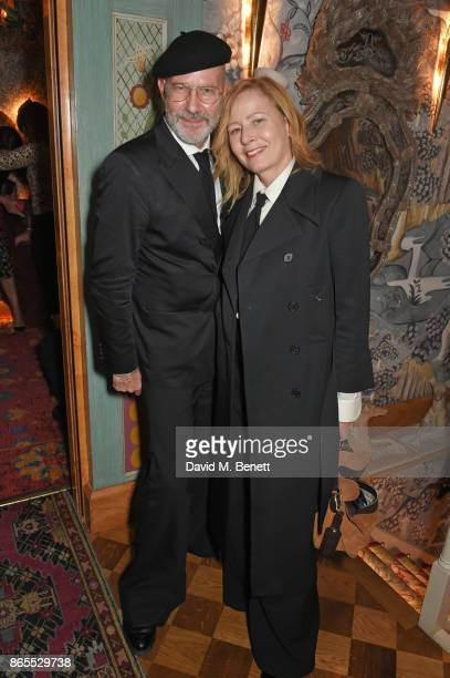 Darren Gerrish and Sarah Mower attend The Fashion Awards 2017 nominees party in partnership with Swarovski at 5 Hertford Street on October 23 2017 in...