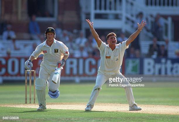 Darren Gough of England appeals for lbw against Jonty Rhodes of South Africa during the 1st Test match between England and South Africa at Lord's...
