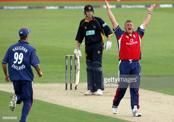 Darren Gough of England celebrates the wicket of Chris Denham of Hampshire to complete his hat trick during the England v Hampshire One Day match at...
