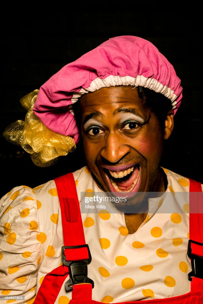 Darren Hart playing 'Jester' poses for a portrait during the Puss in Boots pantomime at the Hackney Empire on December 6, 2013 in London, England.