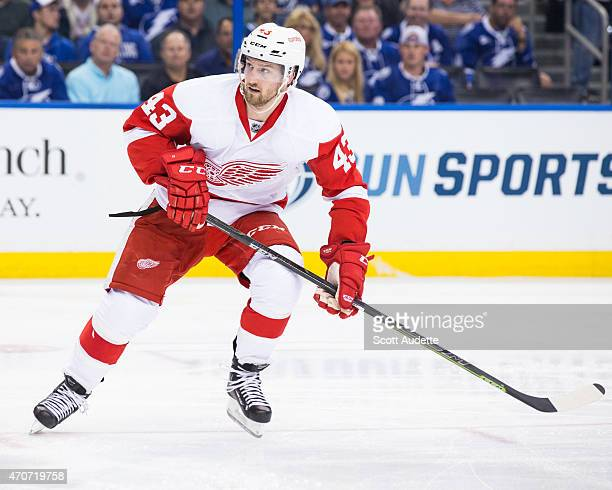 Darren Helm of the Detroit Red Wings against the Tampa Bay Lightning in Game One of the Eastern Conference Quarterfinals during the 2015 NHL Stanley...
