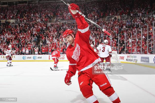 Darren Helm of the Detroit Red Wings celebrates his goal in Game Two of the Western Conference Quarterfinals during the 2011 NHL Stanley Cup Playoffs...