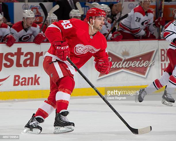 Darren Helm of the Detroit Red Wings follows the play during a NHL game against the Carolina Hurricanes on April 7 2015 at Joe Louis Arena in Detroit...