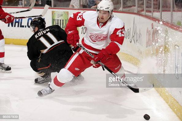 Darren Helm of the Detroit Red Wings handles the puck behind the net against Saku Koivu of the Anaheim Ducks during the game on January 5 2010 at...