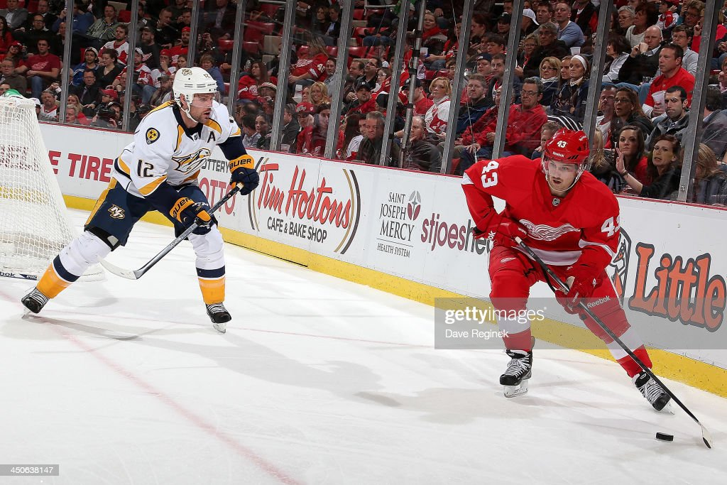 Darren Helm #43 of the Detroit Red Wings handles the puck in the corner as Mike Fisher #12 of the Nashville Predators defends him during an NHL game at Joe Louis Arena on November 19, 2013 in Detroit, Michigan.