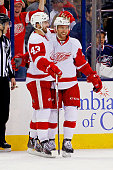 Darren Helm of the Detroit Red Wings is congratulated by Luke Glendening of the Detroit Red Wings after scoring a goal during the third period of the...