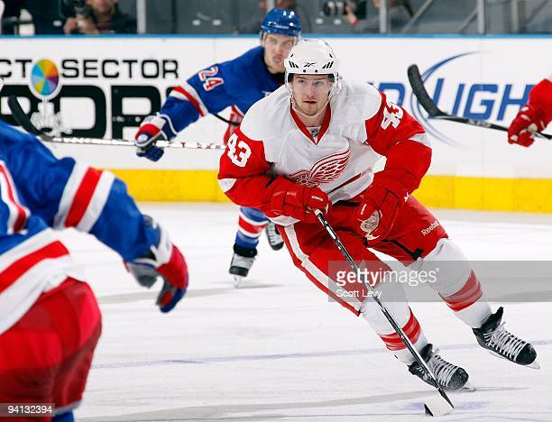Darren Helm of the Detroit Red Wings skates against the New York Rangers on December 6 2009 at Madison Square Garden in New York City The Red Wings...