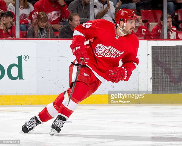 Darren Helm of the Detroit Red Wings skates up ice during a NHL game against the Tampa Bay Lightning on March 28 2015 at Joe Louis Arena in Detroit...