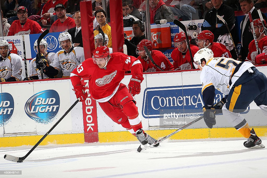 Darren Helm #43 of the Detroit Red Wings skates with the puck as Roman Josi #59 of the Nashville Predators defends him during an NHL game at Joe Louis Arena on November 19, 2013 in Detroit, Michigan.