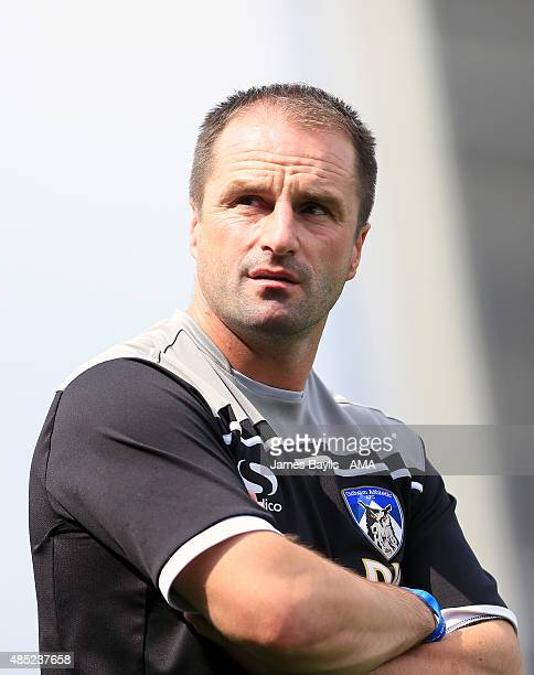 Darren Kelly the head coach / manager of Oldham Athletic during the Sky Bet League One match between Oldham Athletic and Shrewsbury Town at Boundary...
