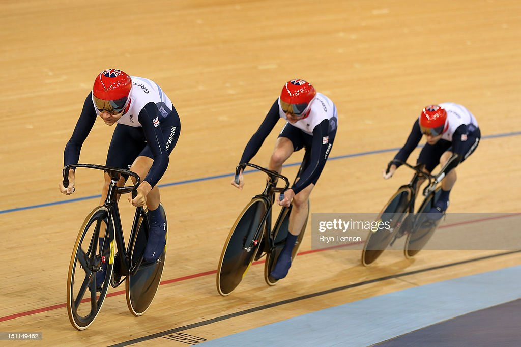Darren Kenny Richard Waddon and JonAllan Butterworth of Great Britain compete in the Mixed C1 to 5 Cycling Team Sprint finals on day 4 of the London...