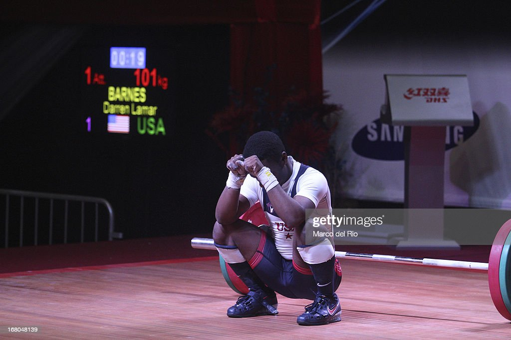 Darren Lamar Barnes of US A competes in the Men's 56kg during day one of the 2013 Junior Weightlifting World Championship at Maria Angola Convention Center on April 04, 2013 in Lima, Peru.