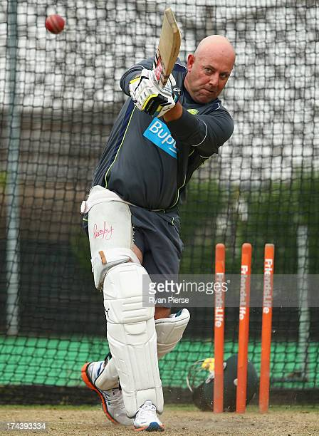 Darren Lehmann coach of Australia bats in the nets during an Australian Training Session at The County Ground on July 25 2013 in Brighton England