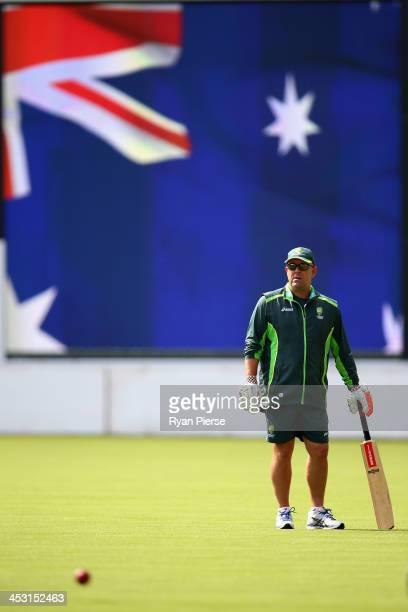 Darren Lehmann coach of Australia looks on during an Australia Nets Session at Adelaide Oval on December 3 2013 in Adelaide Australia